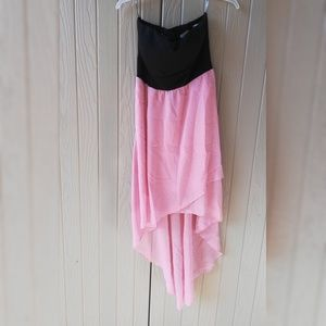 Poetry Black and Pink High Low Dress Small